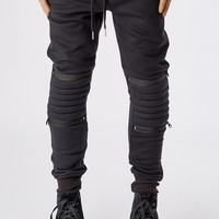 B09 Quilted Knee Panel Joggers - Black