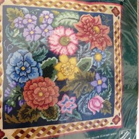 Elsa Williams Needlepoint Pillow Craft Kit - Stansfield Pillow  06415 - Daffodils Tulips Daisies Petunias Roses - DIY Craft Needlepoint Kit