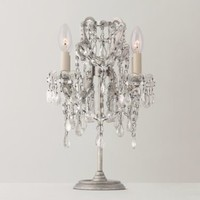 Manor Court Crystal Table Lamp Antiqued Silver