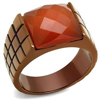 Mens Wedding Rings TK3114 Coffee light Stainless Steel Ring with Semi-Precious