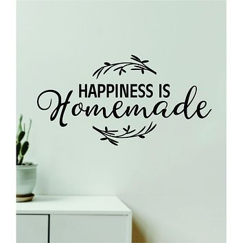 Happiness Is Homemade Wall Decal Home Decor Art Vinyl Sticker Quote Inspirational Love Kids Nursery Bedroom Flowers Heart