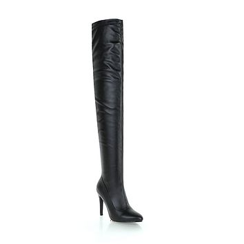 Soft Leather Over the Knee Boots Winter Stiletto Heel Shoes for Woman 5869
