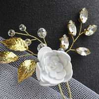 Floral hair pin, crystal hair pin, gold leaf hair pin, bridal hair piece, wedding hair pin, bridal hair pin, bridal headpiece, gold hair pin