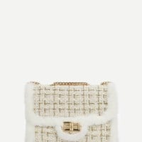 Faux Fur Decor Chain Crossbody Bag