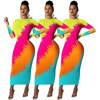 2020 new women's tie-dye printed long-sleeved dress
