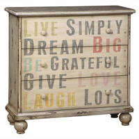 Hand Painted Distressed Cream Finish Accent Chest