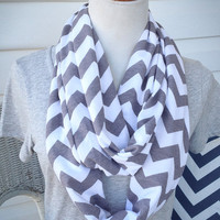 Gray and White Chevron Jersey Knit Infinity Scarf