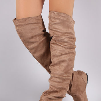Suede Slouchy Over-The-Knee Flat Boots