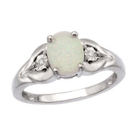 Oval Lab-Created Opal and Diamond Accent Flower Ring in Sterling Silver - Size 7 - View All Rings - Zales