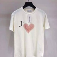 """ Dior"" Woman Casual Fashion Letter Muticolor Printing Loose Large Size Short Sleeve T-Shirt Tops"