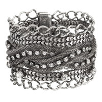 Silver-Colored Chain And Rhinestone Magnetic Bracelet - Burnished Silver