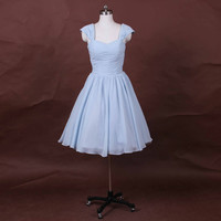 Baby blue prom dress Evening Dress, sweetheart cap sleeves Prom Dresses, tutu ball gown, chiffon prom dresses, short wedding dress