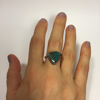 Turquoise Two Tone Ring; sterling silver ring; handmade ring; festival fashion; bohemian jewelry; boho chic; silversmith; statement ring