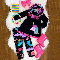 US Toddler Kid Baby Girl Unicorn Outfit Clothes T-shirt Top Dress+Long Pants Set