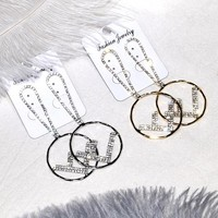 FENDI style earrings with female letter F pendant and silver stud