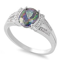 Sterling Silver Simulated FIRE Rainbow Topaz Mystic OVAL & CLEAR CZ Rim Ring 5-10