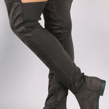 """Liliana Suede Elastane Panel OTK Boots Over-The-Knee Boots Knee High Boots Heel Height: 1"""" Shaft Length: 25"""" (including heel) Top Opening Circumference: 16"""" Black & Charcoal & Taupe"""