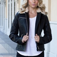 Yvette Vegan Leather Faux Fur Collar Moto Jacket