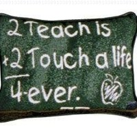 "Set of 2 ""To Teach"" Teacher Decorative Throw Pillows 9"" x 12"""