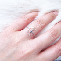 Sterling Silver Moon Ring, Dainty Crescent Moon Ring, Gold Crescent Moon Ring, Silver Promise Ring, I Love You to the Moon and Back Ring