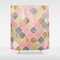 Silver Grey, Soft Pink, Wood & Gold Moroccan Pattern Shower Curtain by Micklyn