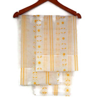 Vintage Kitchen Curtains, Dacron, Sheer with Daisies and Stripes, Yellow and White, One Pair, Cottage Chic Kitchen