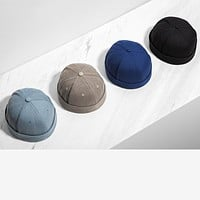 New Chinese-Style Round Hat Unisex Snapback Couple Caps Flanging Solid Color Fashion Men's Hats