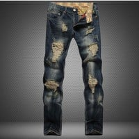 Ripped Holes Slim Weathered Strong Character Pants Jeans [6541742211]