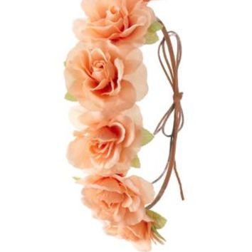 Peach Rose & Faux Suede Flower Crown by Charlotte Russe