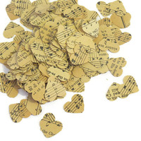 vintage wedding confetti - music heart confetti - antique hymnal hearts by partyparts- 100 pieces