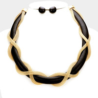 Black Twisted Metal Mesh Womens Necklace Fashion Jewelry
