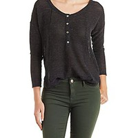WAFFLE KNIT DROPPED SHOULDER HENLEY TOP