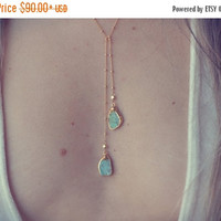 HOLIDAY SALE AQUA Lariat /// Turquoise Lariat Necklace /// Gold