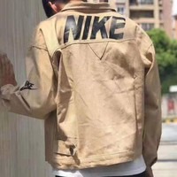 Nike Trending Men Women Casual Cardigan Jacket Coat Windbreaker Khaki