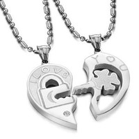 "Valentine Couple's ""Love You"" Lock and Key Pendant Necklaces Stainless Steel (One Pair)"