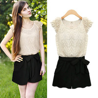 Lace Ruffle Cap Sleeve Blouse And Bow A-Line Short
