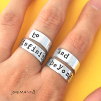 To infinity and beyond ring set,Personalized Ring, Infinity ring, Best friends gifts, Twist ring, wrapped ring, Adjustable ring set