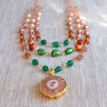 NEW Multi Strand Necklace, Agate Pendant, Bold Jewelry, Salmon Pink Peach Emerald Green Onyx Hessonite Sunstone, Gold Filled, Free Shipping