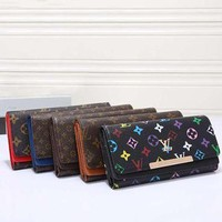 LV Women Leather Multicolor Wallet Purse