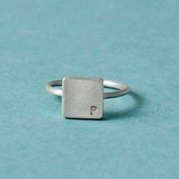 Square Block Ring with 1Letter/Number by mxmjewelry on Etsy