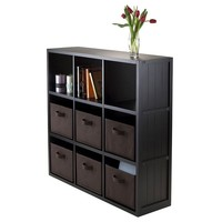 Winsome Timothy 7-piece 9-Cube Storage Shelf & Basket Set (Black)