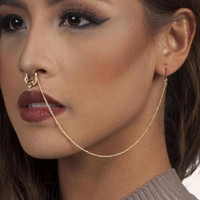 New Design Summer Style Crystal Fake and Studs Earring Chain Gold Hoop Fake Septum Piercing For Women Jewelry