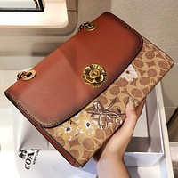 Bunchsun COACH Fashion New Floral Pattern Print Chain Shoulder Bag Crossbody Bag