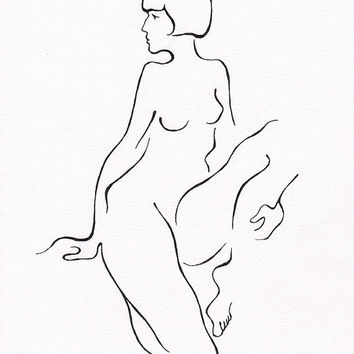 Minimalist nude figure drawing. Black and white line art. For bedroom gallery wall. Original artwork.