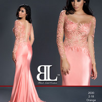 Black Label Couture 14 Long Sleeve Sheer Naked Evening Gown Prom Pageant Dress