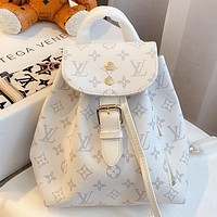 LV Fashion New Monogram Print Leather Backpack Bag Handbag White