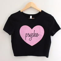 Pink Psycho Heart Black Graphic Crop Top