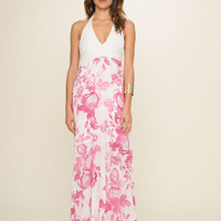 Bardot Halter Neck Maxi Dress- Blossom