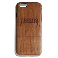 Yeezus kanye west fan art laser print Iphone 5 /5s/ 6/6s wooden engraved bamboo phone case cover