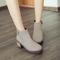 Zipper Ankle Boots Round Toe Thick Heel Women Shoes 76201994